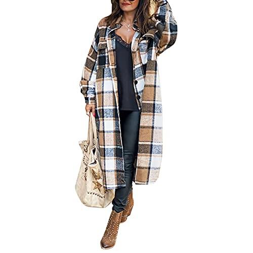 cappotto donna scozzese Cappotto da donna Autunno Inverno Giacca a vento lunga lana scozzese con spacco laterale Top Manica Lunga Cappotto scozzese in lana con risvolto Cappotto in Pile Risvolto Panno di Lana Abbigliamento