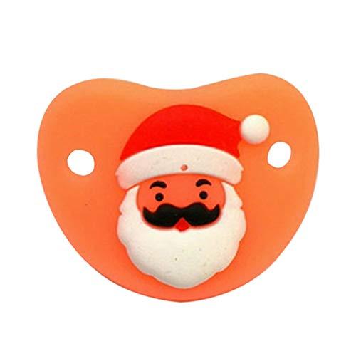 Garneck chupete recién nacido para bebés chupete de vacaciones chupete de pezón de silicona suave bpa gratis navidad santa claus chupete regalo de año nuevo para bebés de 0 a 3 años (patrón aleatorio)