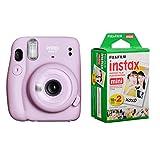 Fujifilm Instax Mini 11 Instant Film Camera, Lilac Purple instax Mini Instant Daylight Film Twin Pack, 20 Exposures