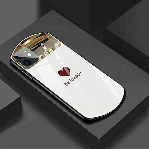 Lujo Lindo Ovalado en Forma de corazón Espejo Templado Caja del teléfono de Cristal Espejo Caja de Maquillaje TPU para iPhone 12 Series / 11 Series