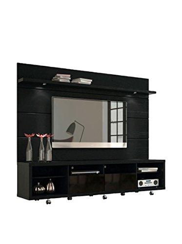 "Manhattan Comfort Cabrini 70"" TV Stand & Floating Wall TV Panel 2.2, Black Gloss/Black Matte, 85.8Lx17.5Wx73H"