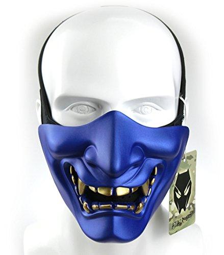 ATAIRSOFT Halloween Costume Cosplay BB Gun Evil Demon Monster Kabuki Samurai Hannya Oni Half Cover Airsoft and Prop Mask (Blue)