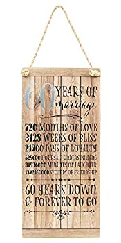 Happy Homewares Beautifully Designed 60th Anniversary Vintage MDF Hanging Plaque with Rope   60 Years Down & Forever to Go   12  x 5.5    Thoughtful Gift Idea