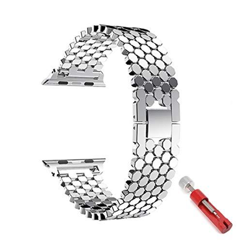 BJKKM Simplicidad con Estilo Correa for Apple Watch 5 Band 44mm 40 mm Iwatch Band 42mm 38mm Acero Inoxidable Reloj de Reloj de Reloj de Metal for la Serie 6 4 3 38/44 mm Accesorios de Reloj