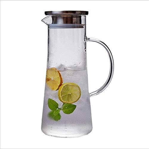 GAOYINMEI Tetera Tetera de 1,5 l/l Bidón de Gran Capacidad de la Botella de Cristal jarro de Agua fría con la Tapa Floral de Frutas té Jug fría garrafa de Cristal y de Cierre del Primer 1500ML