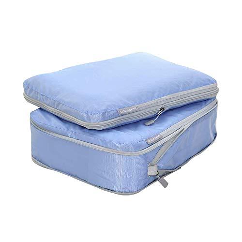 Bostar 2点セット 圧縮バッグ 旅行用収納バッグ 衣類圧縮バッグ 可変スペース ダブルファスナー圧縮 超軽量 大容量 撥水加工 トラベルポーチ 旅行 出張 スーツケース整理 ブルー