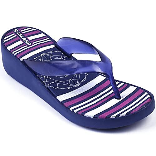 R-ISLAND Infradito Donna Zeppa Ciabatte Donna Aperte Con Tacco Elegante Pantofole Piscina E Spiaggia Mare Per Adulto Estivi Taglia 36-41(X21442 Blu Scuro. numeric_40)
