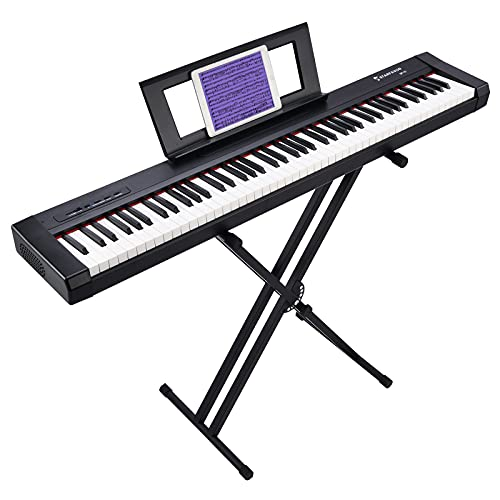 Starfavor 88 Key Digital Piano Beginner Electric Keyboard Full Size with Semi Weighted Keys Dual 30W Speakers SP-10 Bundle include Power Supply, Stand, Piano Stickers