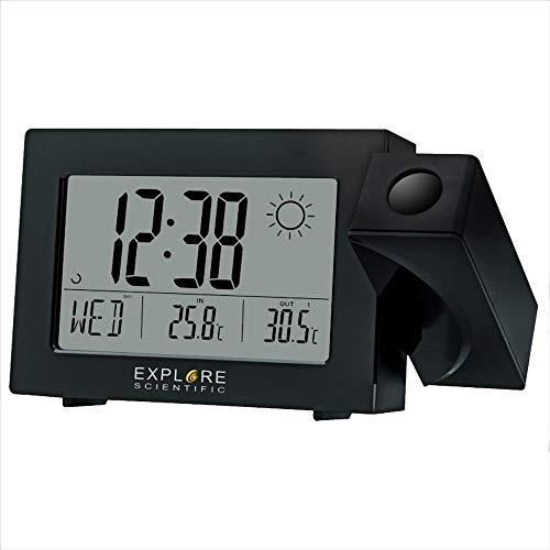 EXPLORE SCIENTIFIC Orologio con proiezione dell'ora, display con previsioni del tempo RPW3008, doppio allarme snooze, nero