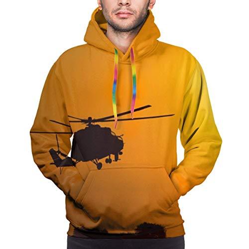 Love girl Helicopter Silhouette Sunset Sudadera con Capucha con Estampado Digital 3D Realista para Hombre