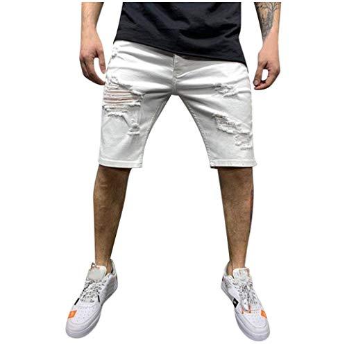Xjp Herren Denim Shorts Reißverschlusstasche Baumwolle Multi-Pocket Overalls Shorts Fashion Casual Hose(Weiß,XXL)
