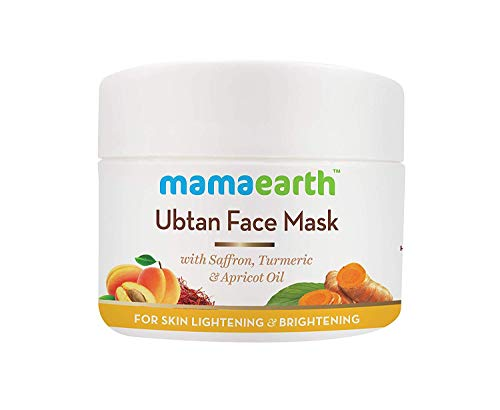 Mamaearth Ubtan Face Pack für Fairness-Maske, Sonnen und strahlende Haut mit Safran, Kurkuma & Aprikosenöl, 100 ml