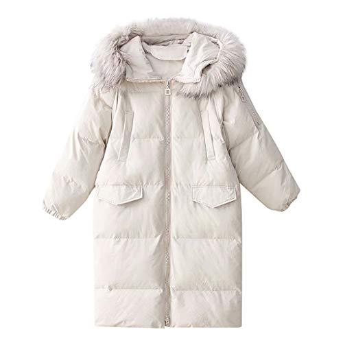Longra katoenen jas, fleecevoering met capuchon, imitatiebont, met trekkoord, modieus, voor dames, dik, warm, winter, comfortabel, casual, jas parka