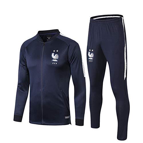 Shi18sport La Squadra Nazionale Francese Mezza Zip Maglione di Calcio Manica Lunga Vestito di Addestramento Tuta Pantaloni Gamba, S