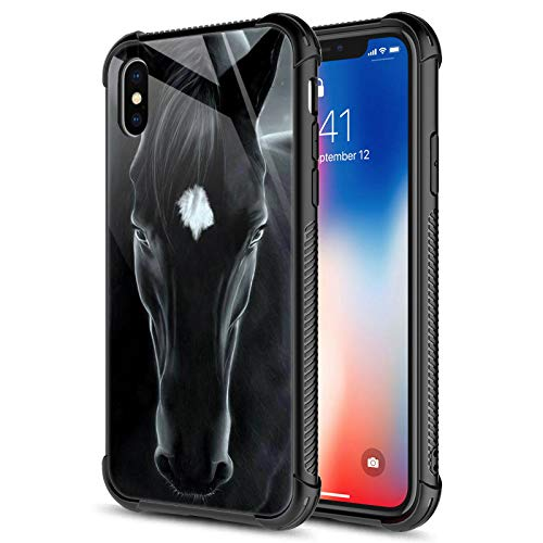 CARLOCA iPhone XR Case,Black Horse iPhone XR Cases for Girls Boys,Graphic Design Shockproof Anti-Scratch Drop Protection Case for Apple iPhone XR