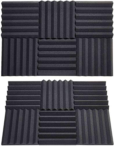 "Acoustic Foam Panels 24 Packs Acoustic Panels 2""x12""x12"" Sound Proof Foam Panels Music Studio Equipment Recording Studio Equipment 2inch Sound-absorbing Foam Board Wedge Shape(Black)"