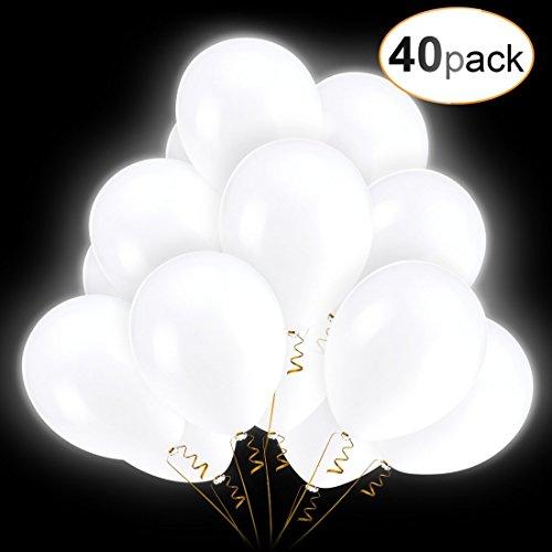 AGPTEK 40 LED lichtgevende ballonnen met 3 lichtmodi, witte ballonnen tot 30 cm, speelgoed en decoratie geschikt voor feest, verjaardag, bruiloft, Kerstmis, carnaval etc.