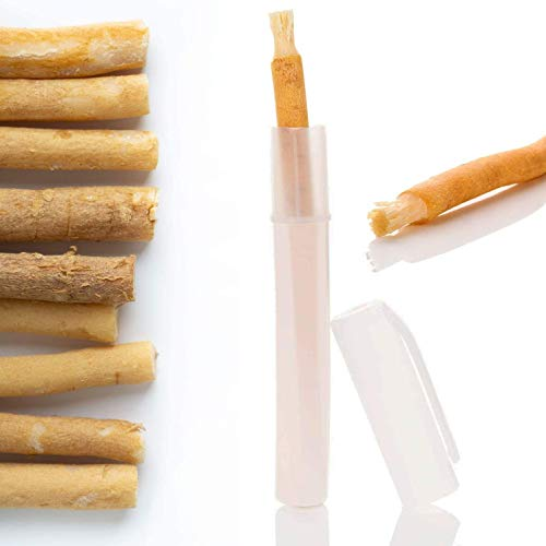 Miswak Zahnbürste (5 + 5 Case) - Optimal für Unterwegs - Siwak Holzzahnbürste Premiumqualität - Vegan - 100% natürliche Zahnbürste mit Mineralien für Gesunde Zähne und Mundpflege