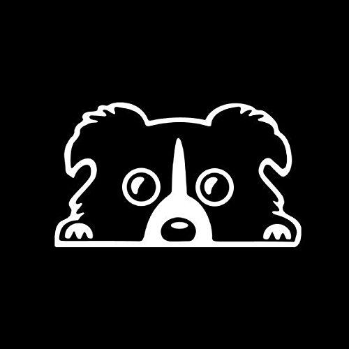 Alamor 14X8Cm Coche Encantadora Mascota Perro Pegatina Divertido Calcomanía Auto Parachoques Ventana Cuerpo Calcomanía - Blanco