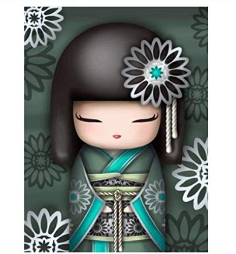 HRYM Full Circle Diamond 5D Diy Kit De Pintura De Diamantes Diamond Art Diamond Painting Bag Cartoon Kimono Girl 3D Bordado Punto De Cruz Decoración Del Hogar Regalo 60 * 90Cm