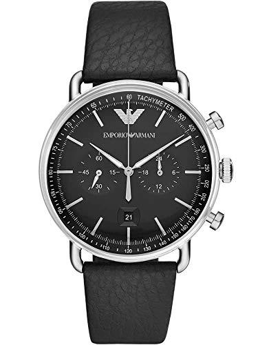 Emporio Armani Herren Chronograph Quarz Uhr mit Leder Armband AR11143