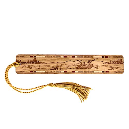 Personalized Drift Boat Fishing, Engraved Wooden Bookmark with Tassel - Search B06ZZM3MNJ for Non-Personalized Version