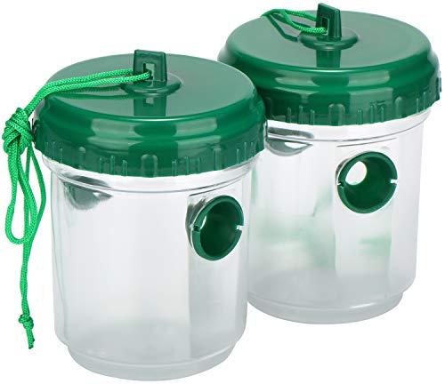 com-four® Trampa para Avispas para Colgar - Trampa de Plástico para Insectos - Protección Ecológica de Avispas, Moscas y Avispones (02 Piezas - Transparente 13cm)