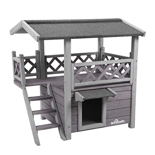 Aivituvin Wooden Dog/Cat House Outdoor and Indoor,Feral Pet Houses with Stairs for Cats Insulated, Weatherproof Roof