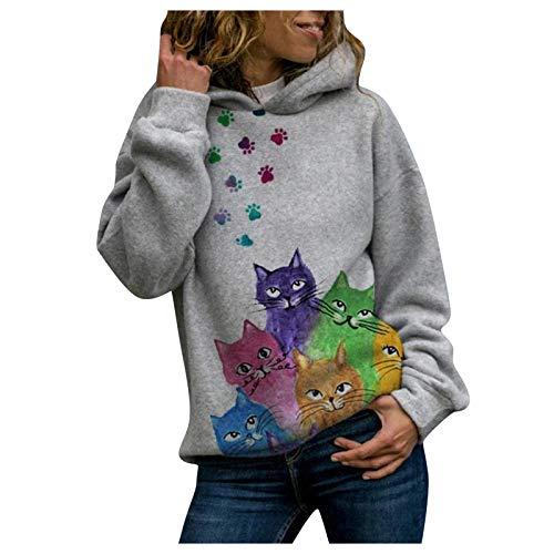 Sudadera casual de manga larga con capucha para mujer, diseño de gato pintado suelto, informal, para mujer