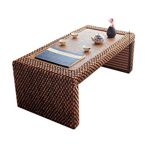 Gartenmöbel Zubehör Kleiner Tisch Rechteck Rattantisch Balkon Teetisch Tatami Niedriger Tisch Arbeitszimmer Computertisch , handgemacht Tische (Color : Square Stool, Size : 100 * 50 * 38cm)