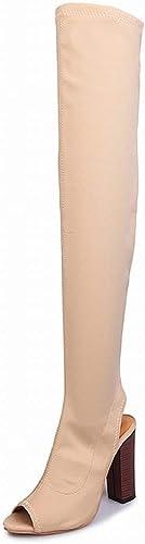 ZHRUI Stiefel por Encima de la Rodilla Lange Fischmund Elásticos chales con Tacones schuhe de damen Grandes de damen (Farbe   Polieren, tamaño   42)