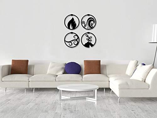 """no brands 14"""" Metal Wall Decor Hanging Indoor Outdoor Four Elements - MetalWallArt, Metal Wall Decoration, Metal Art, Wall Hangings, Geometric Wall Art, Metal Sign, Wall Sign, Metal Wall Dec"""