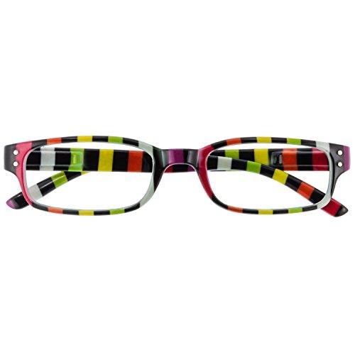 Chaot Lesebrille Reader Kunststoffbrille mit Federscharnier (+1,50, schwarz-buntgestreift)