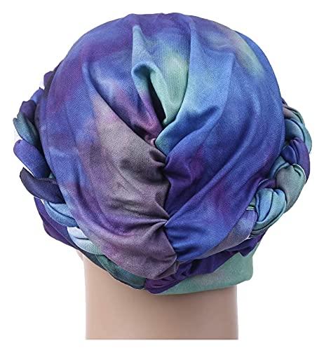 Lzpzz Mujeres Trenzadas Trenzadas Musulmanes Hijab Turban Sombrero Degradado Tie-Tinte Estampado quimio cáncer pañuelo Cartucho Slouchy Wrap Tapa Cubierta de Pelo para Regalos de Bithday