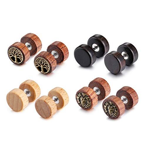 Jovivi 2-4pc Organic Sono Wood Lion Head/Tree of Life Cheater Fake Ear Plugs Gauges 10mm Illusion Screw Stud Earrings (4Pairs)
