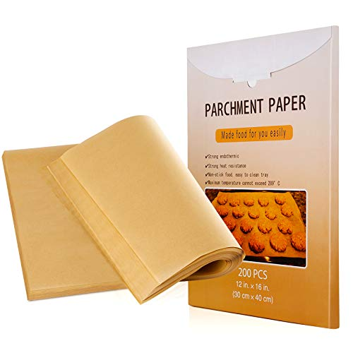 Pemoo Parchment-Paper Sheets for Baking - 200 Pieces 12x16 Inches,Non-Stick for Cooking,Baking,Grilling,Cake and Cookie Baking Paper