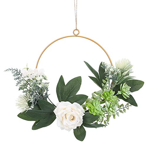 HO2NLE Artificial Green Leaves Wreath Peony Farmhouse Floral Hoop Wreath with Artificial Succulents Wedding Spring Wreaths for Front Door Hanging Wall Window Party Decoration
