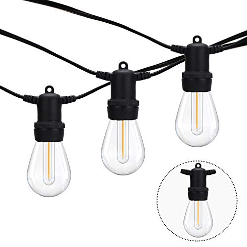 Outdoor Lights Mains Powered, 48FT Outside Festoon Gazebo String Lights, S14 Garden Lighting, Patio Fairy Lights 15 Bulbs with 3 Spares