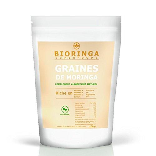 Graines de Moringa en sachet de 100g (350 graines) Superaliment 100% Naturel - A consommer ou à planter - Bienfaits Antioxydants garanti Sans Gluten - Arbre Miracle