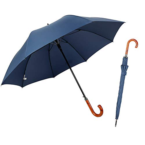 TIME LOVER J Stick Umbrella Oversize Windproof Umbrella Wooden Hook Handle Stick Automatic Open Fast Drying Umbrella for Men Women(Navy Blue)