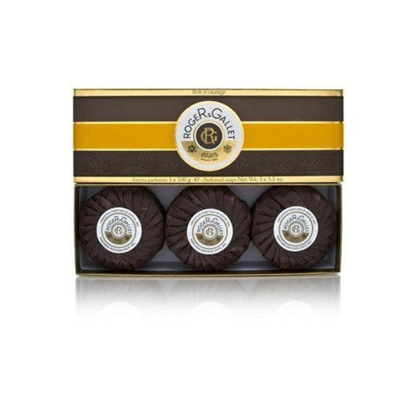 繰り返し逃れる弾丸ロジェガレ ボワ ドランジュ (オレンジツリー) 香水石鹸3個セット ROGER&GALLET BOIS D'ORANGE PERFUMED SOAP [0161]