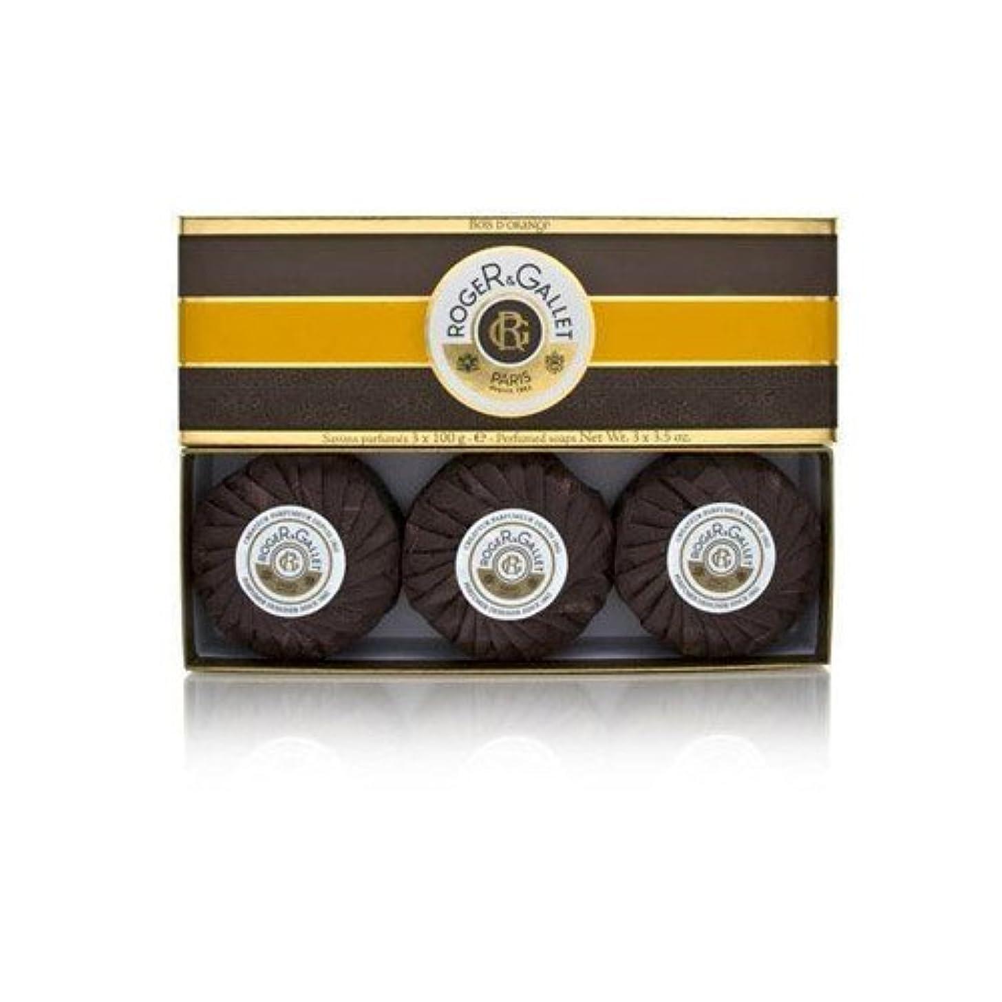 逆ショット彫るロジェガレ ボワ ドランジュ (オレンジツリー) 香水石鹸3個セット ROGER&GALLET BOIS D'ORANGE PERFUMED SOAP [0161]
