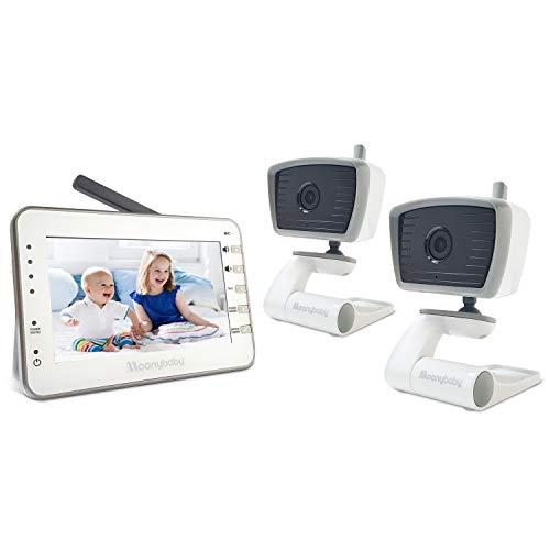 Baby Monitor Video Moonybaby Trust 30-2 con Visione Notturna - Schermo 4,3 Pollici, 2.4GHz, Audio 2-Vie e NinnaNanna, Sensore Temperatura, Modalità VOX, Fino a 4 Telecamere - Monitor con 2 Telecamere