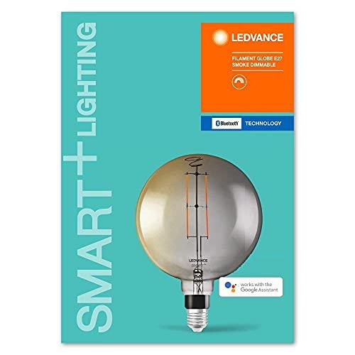 LEDVANCE Lampe LED Smart avec Bluetooth, E27, dimmable, blanc chaud (2700K), remplace les lampes à incandescence par 37W, contrôlable avec Alexa, Google et Apple Voice,SMART+ Filament Globe DIM,1-pack