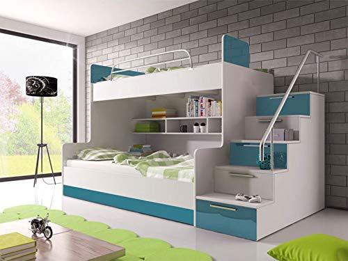 KRYSPOL Etagenbett für Kinder Raj 2 Stockbett mit 2 Betten, Treppe und Bettkasten (Weiß + Türkis Glanz, Seite: rechts)