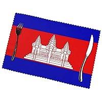 カンボジアの国旗 Cambodia flag ランチョンマット プレートマットスタイリッシュで耐久性防汚断熱マット 6ピースセット家庭用およびレストラン用の卓上装飾プレースマットの