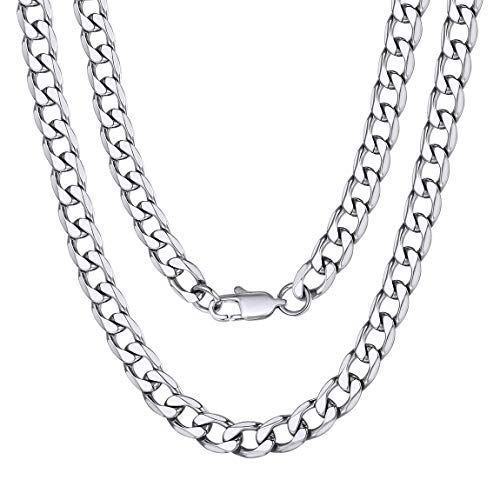 ChainsPro Boys Necklace 6mm Steel Chain 18'' Cuban Link for Men