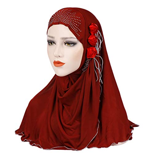 MoreChioce Damen Chemo Kopftuch Haarverlust Bandana Muslim Hijab Schals Glitzer Blume Headscarf Eis-Silk Headwrap Kopftücher Kopfbedeckung,Weinrot