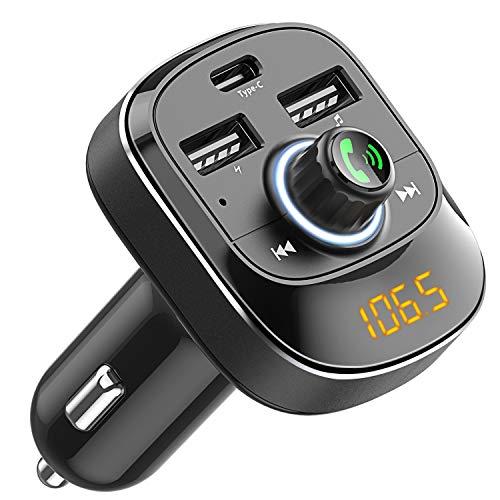 Cocoda Bluetooth FM Transmitter fürs Auto, Drahtlosen FM Radio Transmitter Adapter Car Kit mit Freisprechfunktion, Dual USB und Type C Ladeanschlüssen, Musik Player Unterstützt USB Stick & TF Karte