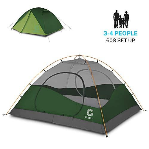 Gonex Camping Tent 3 to 4 Person, Backpacking Dome Tent Waterproof Windproof for Camping Hiking Backpacking Mountaineering Outdoor Activities, Dark Green